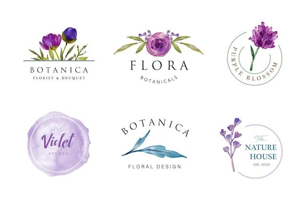Schönes lila weibliches aquarellblumenlogoentwurf Premium Vektoren