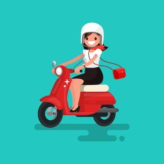 Schönes mädchen, das auf einer roten mopedillustration reitet
