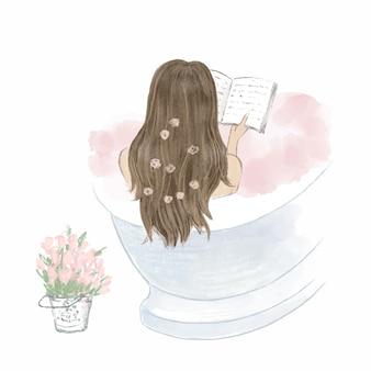 Schönes mädchen, das ein bad nimmt und ein buch, tagebuch liest. hand gezeichnete illustration.