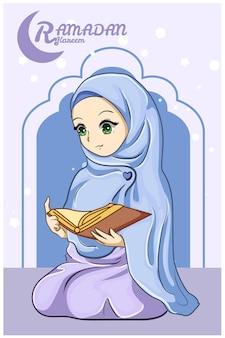 Schönes mädchen, das einen koran bei ramadan kareem-karikaturillustration liest