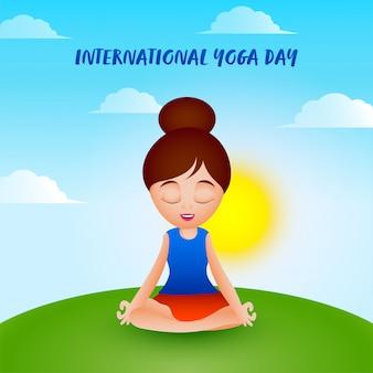 Schönes mädchen, das in lotus-pose mit sonne auf blauem und grünem hintergrund für internationalen yoga-tag meditiert.