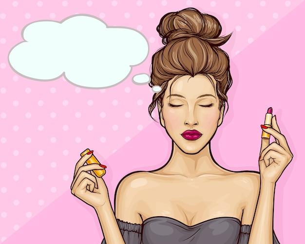 Schönes mädchen, das lippenstift im pop-art-stil hält