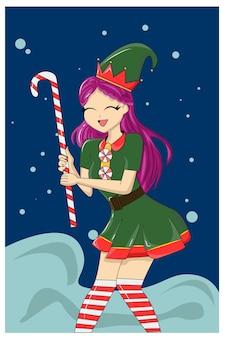 Schönes mädchen, das süßigkeiten weihnachten bringt