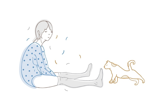 Schönes mädchen gekleidet in gepunkteten bodysuit und strümpfen und katzenhand gezeichnet mit konturlinien auf weiß