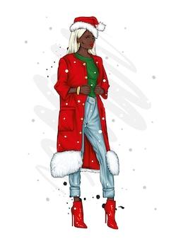 Schönes mädchen in stilvollen kleidern und einer weihnachtsmannmütze