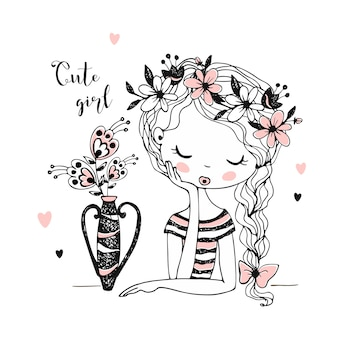 Schönes mädchen mit blumen in einer vase.