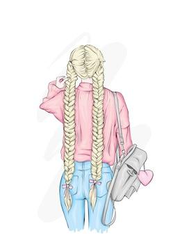 Schönes mädchen mit einem stilvollen rucksack, in jeans.