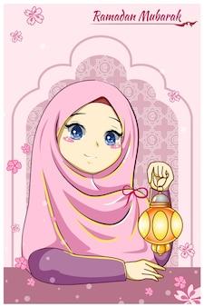 Schönes mädchen mit laterne an der ramadan mubarak-karikaturillustration
