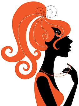 Schönes mädchen-silhouette-profil