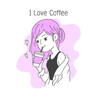 Schönes mädchen trinkt kaffee in einer einfachen, sauberen gekritzelvektorillustration der schale