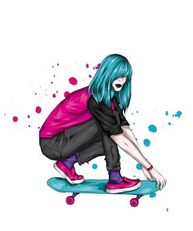 Schönes mädchen und skateboard