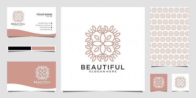 Schönes mandala-logo-design und visitenkarte