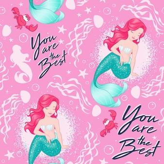 Schönes meerjungfrauenmuster auf rosa hintergrund. design für kinder. modeillustrationszeichnung im modernen stil für kleidung oder stoff. sommerdruck.