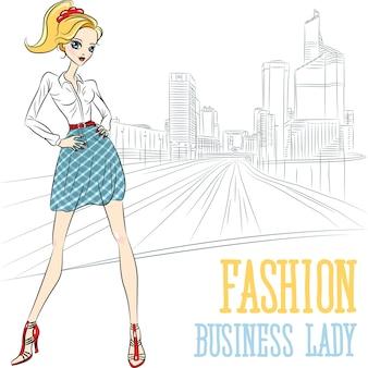 Schönes modegeschäftsmädchen auf stadtstraße in paris, la verteidigung