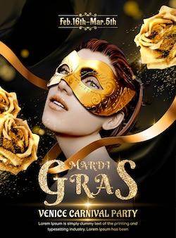 Schönes modell mit schwarzer maske und goldenen rosen