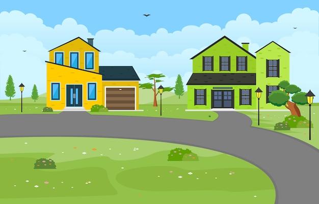Schönes modernes haus-außenfassaden-yard-wohngebäude