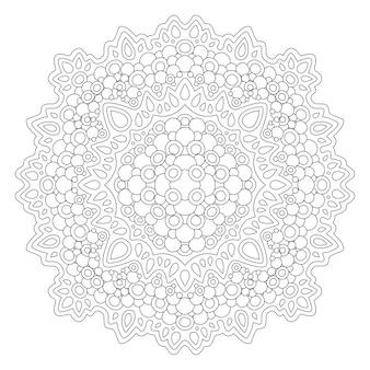 Schönes monochromes illustrationsmandala für malbuchseite