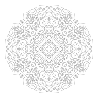 Schönes monochromes mandala für malbuchseite mit abstraktem blumenmuster