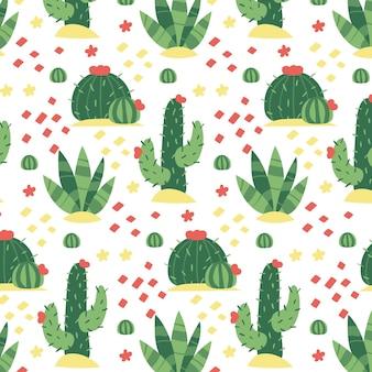 Schönes muster mit sich wiederholendem kaktus