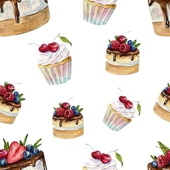 Schönes nahtloses aquarellmuster mit cupcakes und kuchen