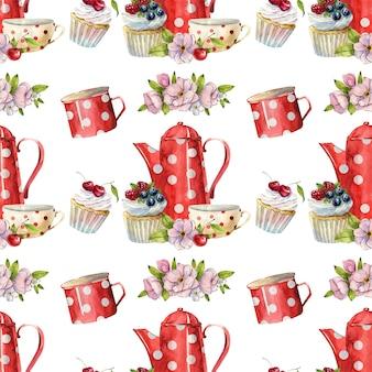 Schönes nahtloses aquarellmuster mit teekannen, tassen, kuchen und cupcakes