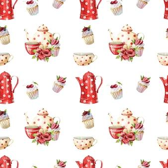 Schönes nahtloses aquarellmuster mit teekannen, tassen und cupcakes