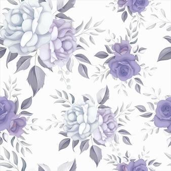 Schönes nahtloses blumenmuster mit lila blumen