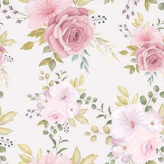 Schönes nahtloses blumenmuster mit staubiger rosa blume