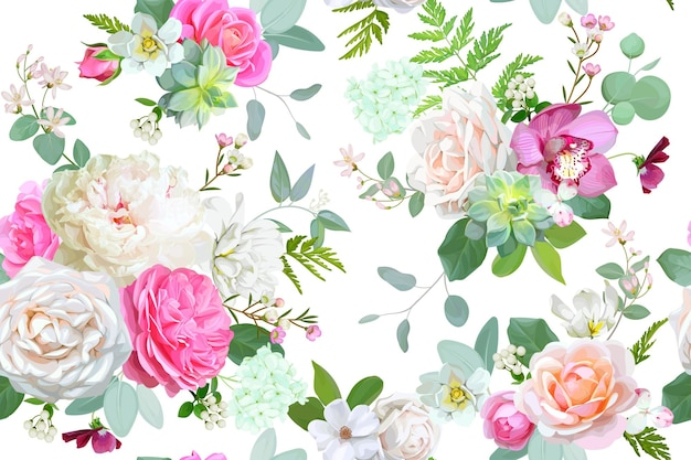 Schönes nahtloses frühlingsmuster mit rosen, pfingstrose, orchidee und sukkulenten