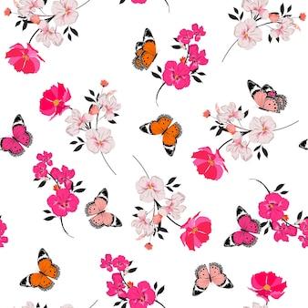 Schönes nahtloses muster, das rosa blumen und fliegendes schmetterlingsdesign für mode, stoff, tapete und alle drucke auf weißem hintergrund blüht