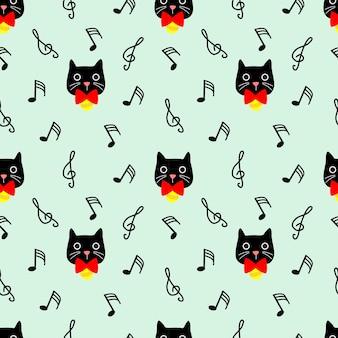 Schönes nahtloses muster der schwarzen katze