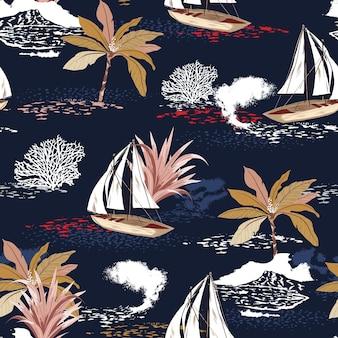 Schönes nahtloses muster der tropischen insel mit palmen, berg, korallen