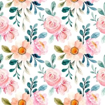 Schönes nahtloses muster des rosa blumenaquarells