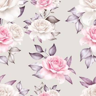 Schönes nahtloses muster mit aquarellblumen und blättern