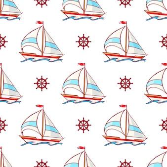 Schönes nahtloses muster mit einem segelboot und lenkrädern eine handgezeichnete illustration