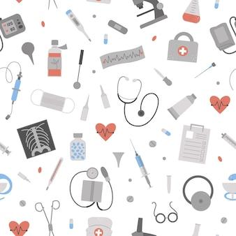 Schönes nahtloses muster mit flachen medizinischen symbolen