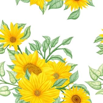 Schönes nahtloses muster mit gelber sonnenblume und blättern