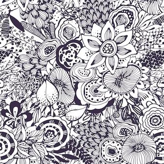 Schönes nahtloses muster mit handgezeichnetem blumenphantasie-naturmotiv, blumen, pflanzen, zweigen. schwarz-weißer endloser vektorhintergrund.