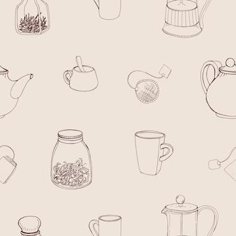 Schönes nahtloses muster mit handgezeichneten küchenwerkzeugen und zutaten zum zubereiten und trinken von tee - französische presse, teekanne, tasse, becher, kräuter.