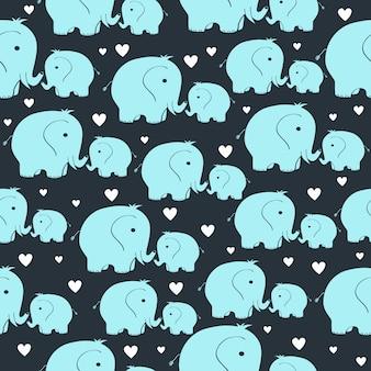Schönes nahtloses muster mit morher- und babyelefanten
