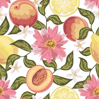 Schönes nahtloses muster mit pfirsich, zitrone, blumen und blättern. bunte handgezeichnete tapete.