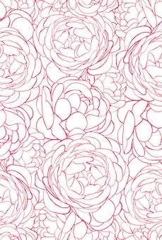 Schönes nahtloses muster mit rosa rosen