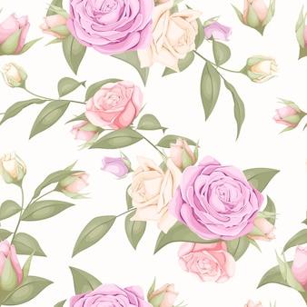 Schönes nahtloses muster mit rosenblüten