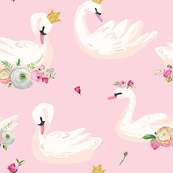 Schönes nahtloses muster mit weißen schwänen mit kronen und blumen, verwendung für baby-hintergrund, textildrucke, abdeckungen, tapeten, poster. vektorillustration