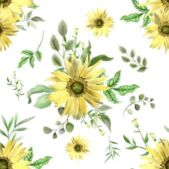 Schönes nahtloses muster-sonnenblumenthema