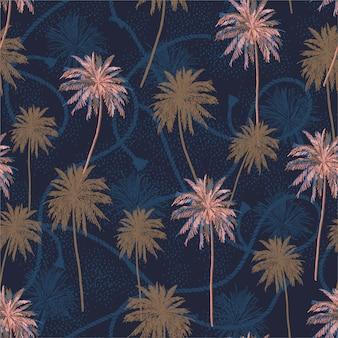 Schönes nahtloses muster tropische plam baumschicht auf nahtlosem muster der seemannseilbeschaffenheits-sommerstimmung.