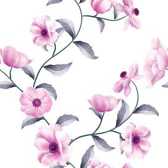 Schönes nahtloses muster von horizontalen anemonenblumen