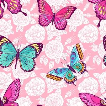 Schönes nahtloses muster von rosen und bunten schmetterlingen. handgezeichnete illustration