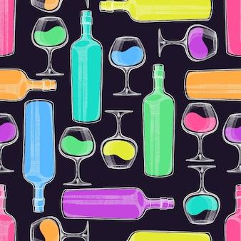Schönes nahtloses muster von weinflaschen und gläsern auf einem schwarzen hintergrund. handgezeichnete illustration
