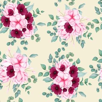 Schönes nahtloses musterblumenmuster